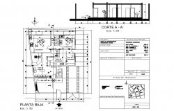 Main section and ground floor plan details of clinic dwg file