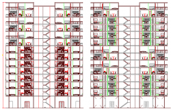 Main section plan of multi-family housing building dwg file