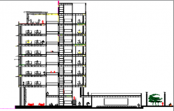 Main sectional view details of multi-flooring corporate building dwg file
