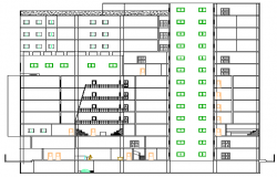 Main sectional view details of multi-story office building dwg file