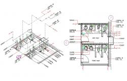 Male And Female Toilet Plan With Isometric CAD Drawing