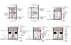 Male And Female Toilet Plan With Section Drawing DWG File