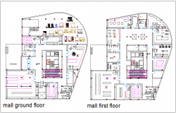 Mall with shopping area view with ground floor and first floor plan dwg file