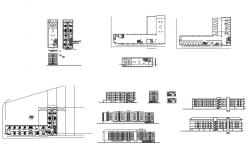 Manhattan hostel elevation, section, floor plan and auto-cad details dwg file