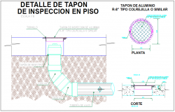 Manhole of sewerage line of wastewater section view detail dwg file