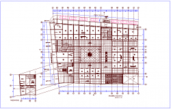 Market plan with shopping area with first floor plan dwg file