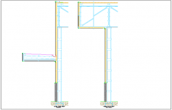 Marquee construction view with concrete view and pillar dwg file