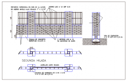 Masonry perimeter fence sectional details dwg file
