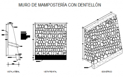 Masonry retaining wall design drawing