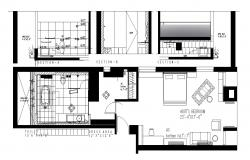 Master bedroom with elevations dwg file