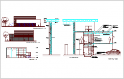Material delivery office of government elevation and section view dwg file