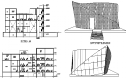Media center building elevation and sectional details dwg file