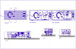 Media library design for corporate office with plan and different axis section view dwg file