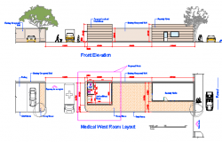 Medical West Room Layout and elevation design drawing