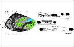 Medical collage landscape view, sectional & elevation dwg file