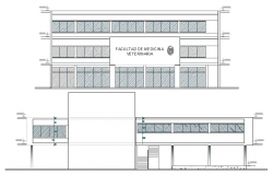 Medical college front and back elevation details dwg file