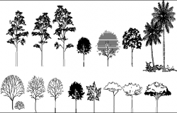 Mega Blocks of Tree Design dwg file