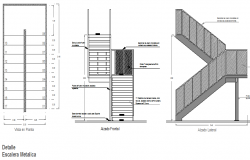 Metal staircase details with sectional view dwg file