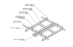 Metal structure view of ceiling area with isometric dwg file