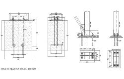 Metallic and concrete pillar construction cad drawing details dwg file