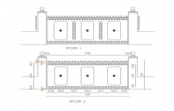 Metallic gate detail elevation 2d view layout file