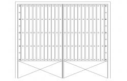 Metallic gate elevation cad drawing details dwg file