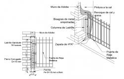 Metallic gate section and constructive structure details dwg file
