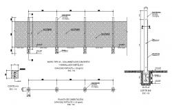 Metallic structure fence section, plan and constructive structure details dwg file