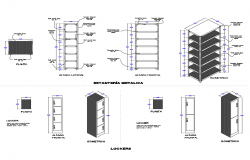 Metallic structure lockers elevation, section and plan details dwg file