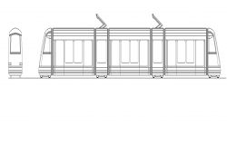 Metro train detail elevation 2d view layout autocad file