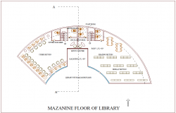 Mezzanine floor of library view of architectural collage with interior view dwg file