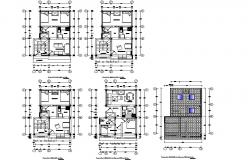 Mini apartments in 3 d plan detail dwg file