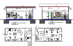 Mini shop sectional and layout plan details dwg file