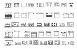 Miscellaneous gas stove, washing machine and kitchen furniture blocks dwg file