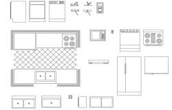 Miscellaneous kitchen furniture blocks cad drawing details dwg file