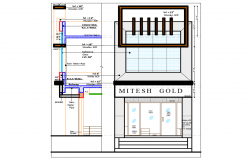 Mitesh jewelry shop exterior elevation and interior details dwg file