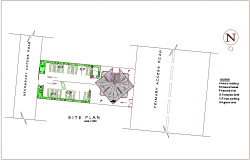 Mixed use high rise building site plan with its legend dwg file