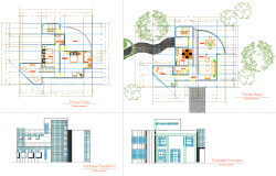 Modern Bungalow Plan dwg file
