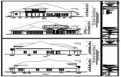 Modern Elevation design drawing of single family bungalow design drawing