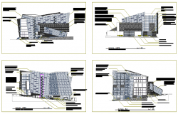 Modern Elevation design of commercial center design drawing
