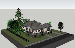 Modern beautiful villa type bungalow 3d model cad drawing details skp file
