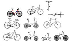 Modern bicycle blocks design dwg file