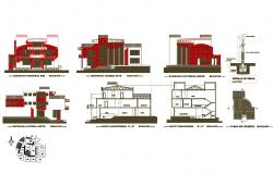 Modern bungalow all sided elevation, section, structure and auto-cad details dwg file