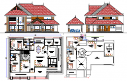 Modern bungalow elevation and layout plan details dwg file