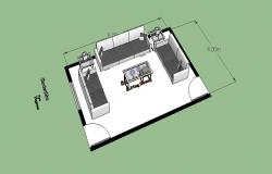Modern drawing room furniture blocks 3d cad drawing details skp file