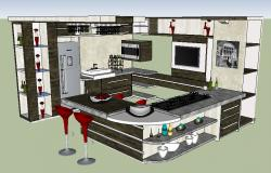 Modern kitchen of house 3d model cad drawing details skp file