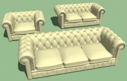 Modern maharaja sofa set 3d block cad drawing details skp file