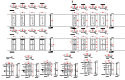 Modern multiple door designs of building dwg file
