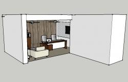 Modern office interior 3d drawing details skp file