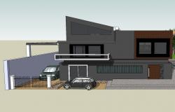 Modern one family bungalow 3d design cad drawing details skp file